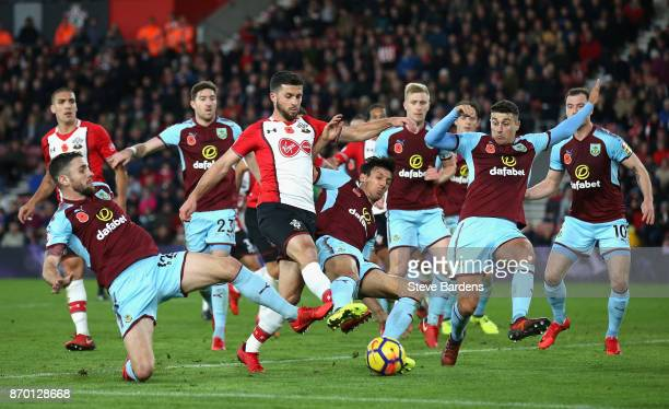 Shane Long of Southampton shoots and misses during the Premier League match between Southampton and Burnley at St Mary's Stadium on November 4 2017...