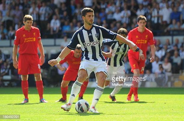 Shane Long of West Brom sees his penalty saved during the Barclays Premier League match between West Bromwich Albion and Liverpool at The Hawthorns...