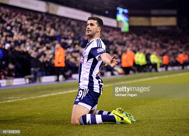 Shane Long of West Bromwich Albion celebrates as he scores their second goal during the Barclays Premier League match between West Bromwich Albion...