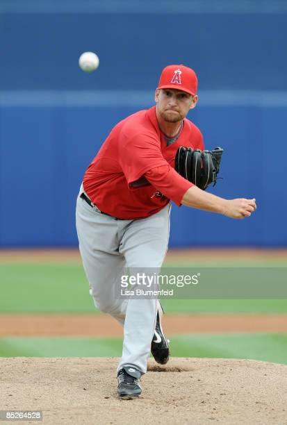 Shane Loux of the Los Angeles Angels of Anaheim pitches during a Spring Training game against the Seattle Mariners at Peoria Stadium on March 5 2009...