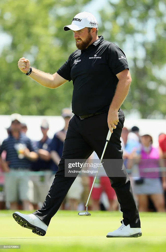 Shane Lowry of Ireland celebrates after a par save on the ninth green during the continuation of the second round of the U.S. Open at Oakmont Country Club on June 18, 2016 in Oakmont, Pennsylvania.