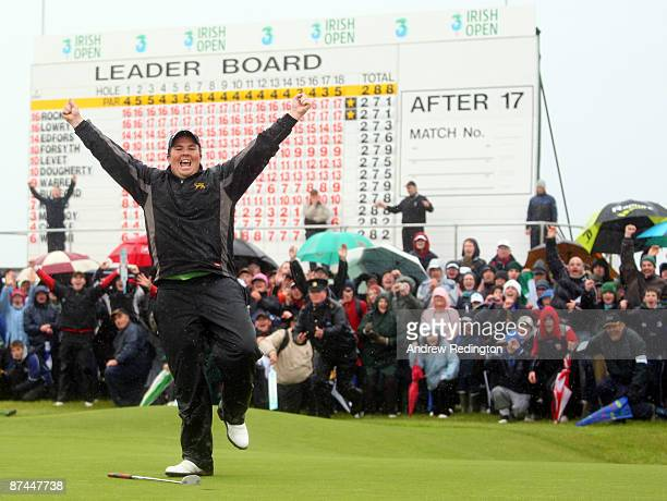 Shane Lowry of Ireland celebrates after winning on the third playoff hole during the final round of The 3 Irish Open at County Louth Golf Club on May...