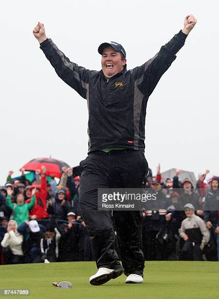 Shane Lowry of Ireland celebrates after winning on the third play-off hole during the final round of The 3 Irish Open at County Louth Golf Club on...