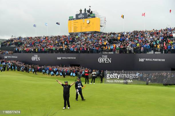 Shane Lowry of Ireland celebrates following his victory in during the final round of the 148th Open Championship held on the Dunluce Links at Royal...
