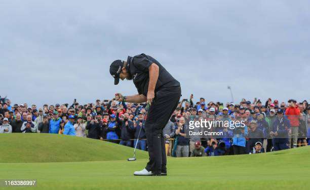 Shane Lowry of Ireland celebrates making a birdie on the 15th hole during the final round of the 148th Open Championship held on the Dunluce Links at...