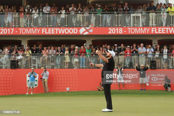 Shane Lowry of Ireland celebrates on the 18th green after winning during Day Four of the Abu Dhabi HSBC Golf Championship at Abu Dhabi Golf Club on...