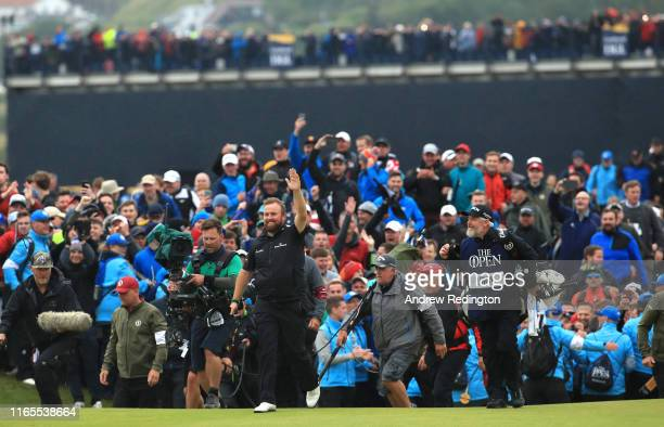 Shane Lowry of Ireland celebrates on the 18th hole during the final round of the 148th Open Championship held on the Dunluce Links at Royal Portrush...