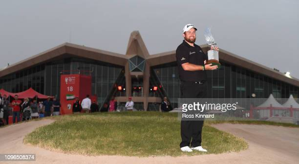 Shane Lowry of Ireland celebrates with the winners trophy after the final round of the Abu Dhabi HSBC Golf Championship at Abu Dhabi Golf Club on...