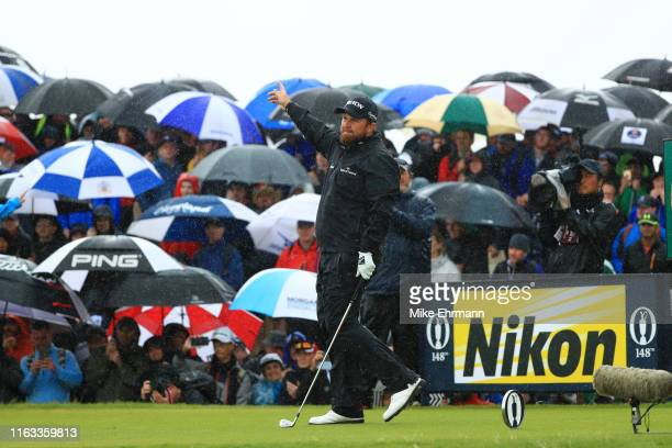 Shane Lowry of Ireland gestures from the ninth tee during the final round of the 148th Open Championship held on the Dunluce Links at Royal Portrush...