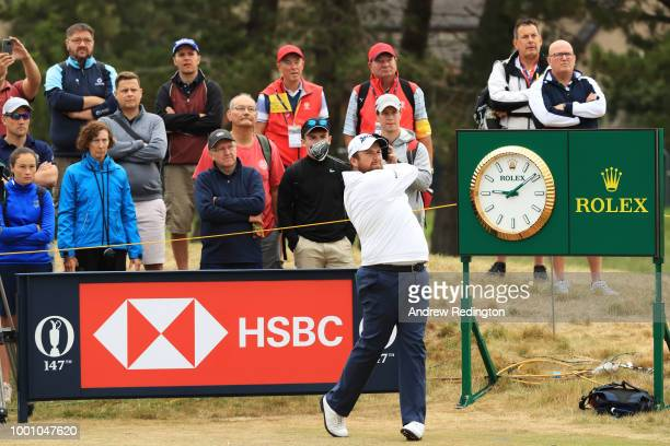 Shane Lowry of Ireland hits his tee shot on the 12th hole during previews to the 147th Open Championship at Carnoustie Golf Club on July 18 2018 in...