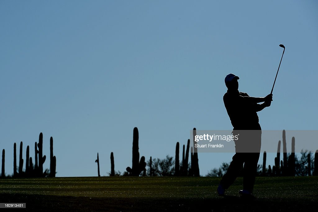 Shane Lowry of Ireland hits his tee shot on the first hole during the third round of the World Golf Championships - Accenture Match Play at the Golf Club at Dove Mountain on February 23, 2013 in Marana, Arizona.