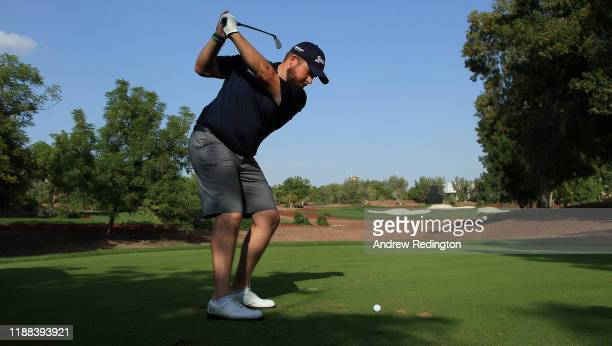 Shane Lowry of Ireland hits his tee-shot on the 13th hole during practice for the DP World Tour Championship Dubai at Jumeirah Golf Estates on...