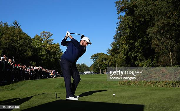Shane Lowry of Ireland hits jis teeshot on the 18th hole during the second round of the British Masters supported by Sky Sports at Woburn Golf Club...