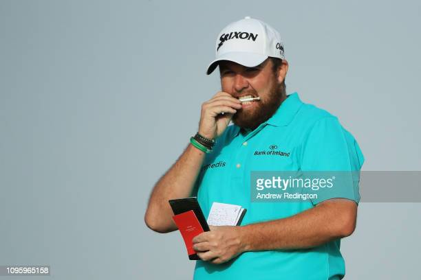 Shane Lowry of Ireland looks on from the 16th hole during Day Three of the Abu Dhabi HSBC Golf Championship at Abu Dhabi Golf Club on January 17,...