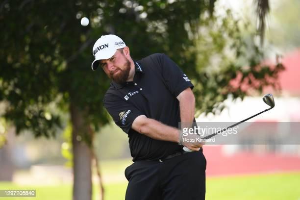 Shane Lowry of Ireland plays a shot during practice ahead of the Abu Dhabi HSBC Championship at Abu Dhabi Golf Club on January 19, 2021 in Abu Dhabi,...