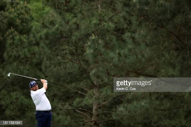 Shane Lowry of Ireland plays a shot on the 15th hole during the first round of the Masters at Augusta National Golf Club on April 08, 2021 in...