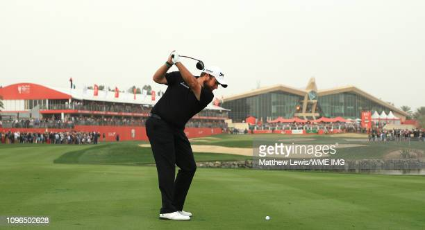 Shane Lowry of Ireland plays his second shot from the 18th fairway during day four of the Abu Dhabi HSBC Golf Championship at the Abu Dhabi Golf Club...