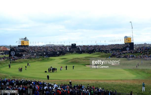 Shane Lowry of Ireland plays his second shot on the 18th hole during the third round of the 148th Open Championship held on the Dunluce Links at...