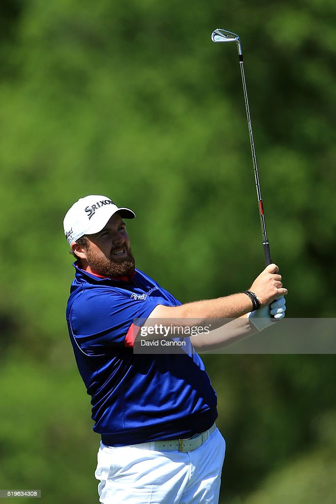 Shane Lowry of Ireland plays his second shot on the fifth hole during the first round of the 2016 Masters Tournament at Augusta National Golf Club on April 7, 2016 in Augusta, Georgia.