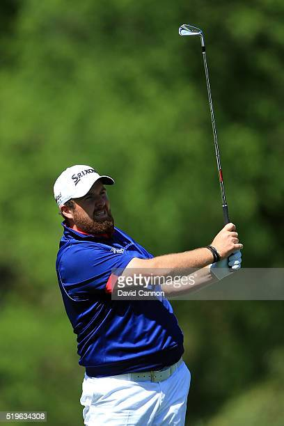 Shane Lowry of Ireland plays his second shot on the fifth hole during the first round of the 2016 Masters Tournament at Augusta National Golf Club on...