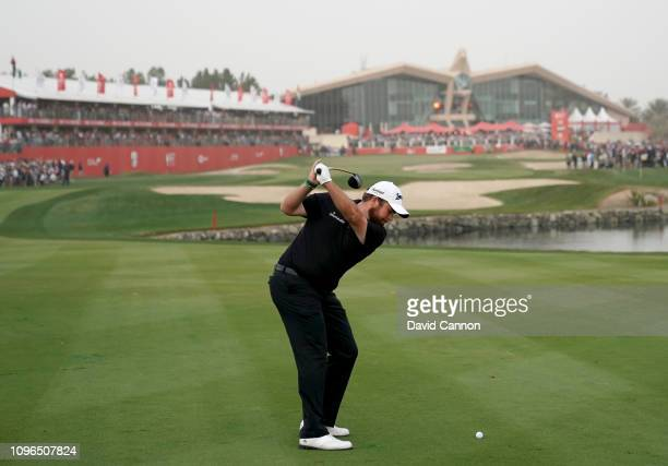 Shane Lowry of Ireland plays his second shot on the par 5 18th hole during the final round of the Abu Dhabi HSBC Golf Championship at the Abu Dhabi...