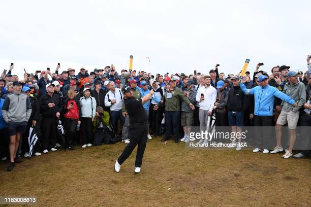 Shane Lowry of Ireland plays his second shot on the seventeenth hole during the second round of the 148th Open Championship held on the Dunluce Links...
