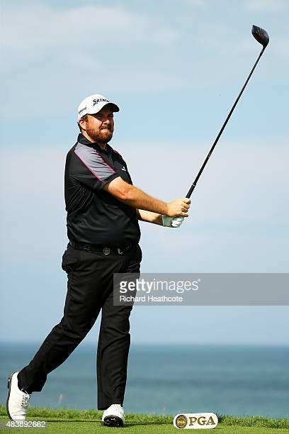 Shane Lowry of Ireland plays his shot from the 14th tee during the first round of the 2015 PGA Championship at Whistling Straits on August 13 2015 in...