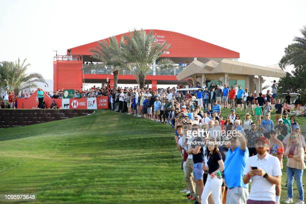 Shane Lowry of Ireland plays his shot from the 18th tee during Day Three of the Abu Dhabi HSBC Golf Championship at Abu Dhabi Golf Club on January...