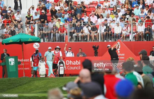 Shane Lowry of Ireland plays his shot from the first tee during Day Four of the Abu Dhabi HSBC Golf Championship at Abu Dhabi Golf Club on January 19...