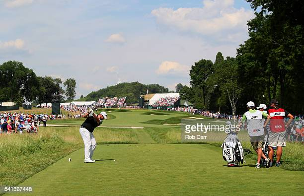Shane Lowry of Ireland plays his shot from the second tee during the final round of the US Open at Oakmont Country Club on June 19 2016 in Oakmont...