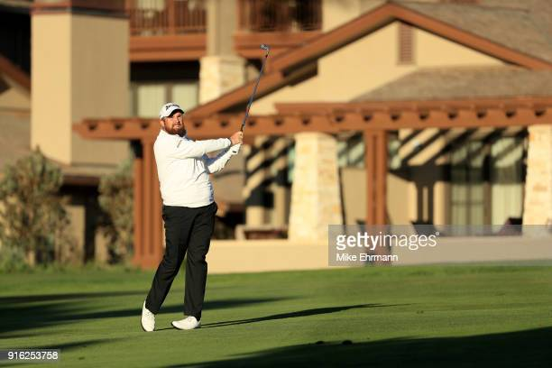 Shane Lowry of Ireland plays his shot on the first hole during Round Two of the ATT Pebble Beach ProAm at Pebble Beach Golf Links on February 9 2018...