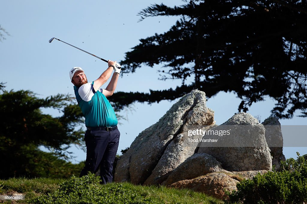 Shane Lowry of Ireland plays his tee shot on the 11th hole during the first round of the AT&T Pebble Beach National Pro-Am at the Monterey Peninsula Country Club (Shore Course) on February 11, 2016 in Pebble Beach, California.