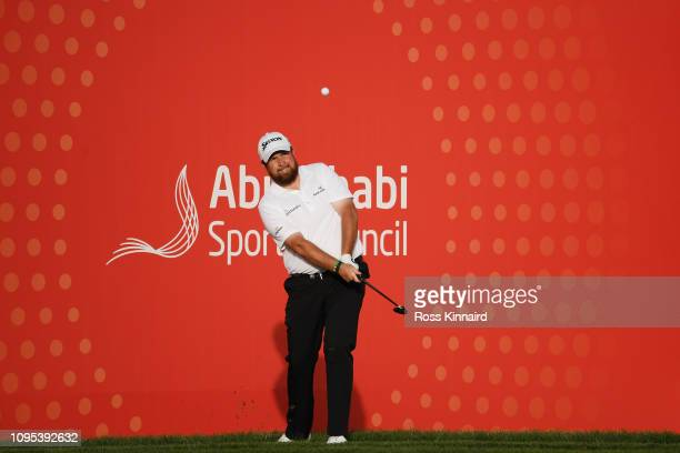 Shane Lowry of Ireland plays his third shot on the 17th hole during Day Two of the Abu Dhabi HSBC Golf Championship at Abu Dhabi Golf Club on January...