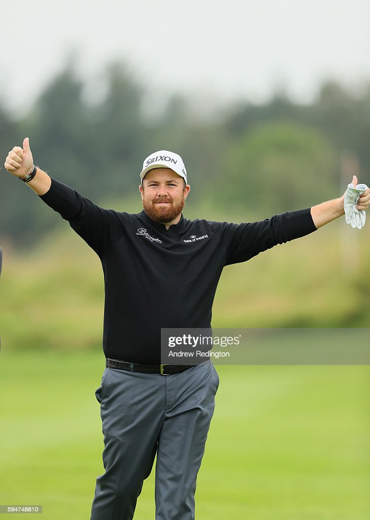 Shane Lowry of Ireland plays to the cameras after a fine second shot on the 18th hole during the Pro Am prior to the start of Made In Denmark at Himmerland Golf & Spa Resort on August 24, 2016 in Aalborg, Denmark.