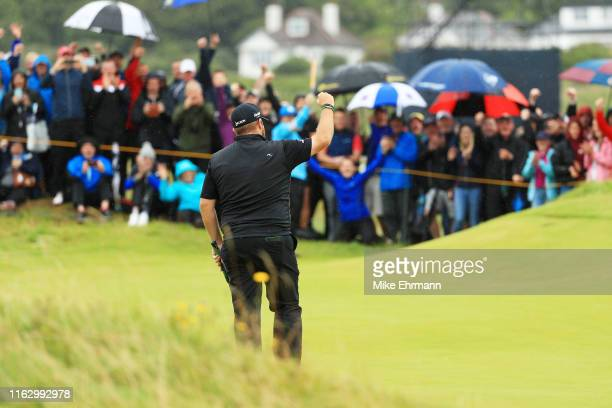 Shane Lowry of Ireland reacts on the 10th green during the second round of the 148th Open Championship held on the Dunluce Links at Royal Portrush...
