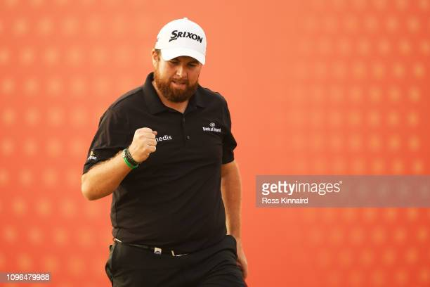 Shane Lowry of Ireland reacts on the 17th green during Day Four of the Abu Dhabi HSBC Golf Championship at Abu Dhabi Golf Club on January 19, 2019 in...