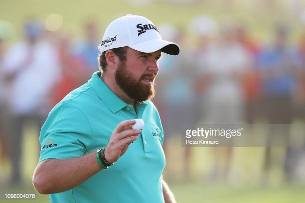 Shane Lowry of Ireland reacts on the 18th green during Day Three of the Abu Dhabi HSBC Golf Championship at Abu Dhabi Golf Club on January 17 2019 in...