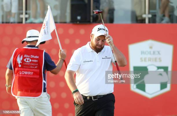 Shane Lowry of Ireland reacts on the 18th green during Day Two of the Abu Dhabi HSBC Golf Championship at Abu Dhabi Golf Club on January 17 2019 in...