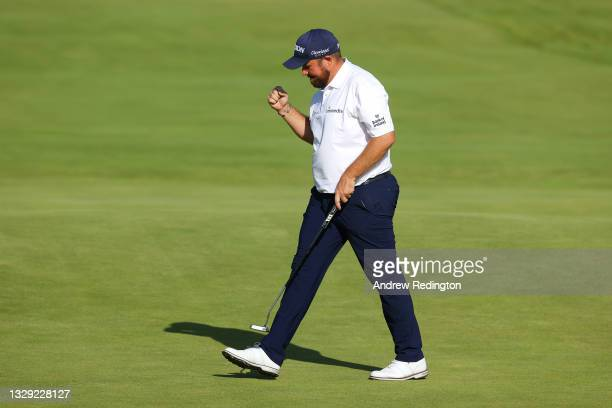 Shane Lowry of Ireland reacts on the green of the 18th hole during Day Three of The 149th Open at Royal St George's Golf Club on July 17, 2021 in...