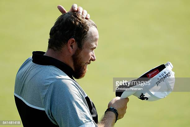 Shane Lowry of Ireland reacts on the tenth green during the final round of the US Open at Oakmont Country Club on June 19 2016 in Oakmont Pennsylvania