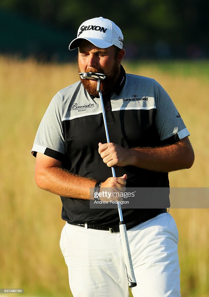 Shane Lowry of Ireland reacts to a missed putt on the 14th green during the final round of the U.S. Open at Oakmont Country Club on June 19, 2016 in Oakmont, Pennsylvania.