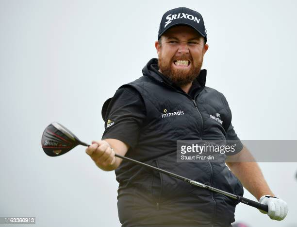 Shane Lowry of Ireland reacts to his shot from the 12th tee during the final round of the 148th Open Championship held on the Dunluce Links at Royal...