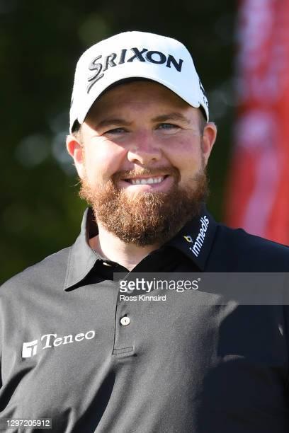 Shane Lowry of Ireland smiles during practice ahead of the Abu Dhabi HSBC Championship at Abu Dhabi Golf Club on January 19, 2021 in Abu Dhabi,...