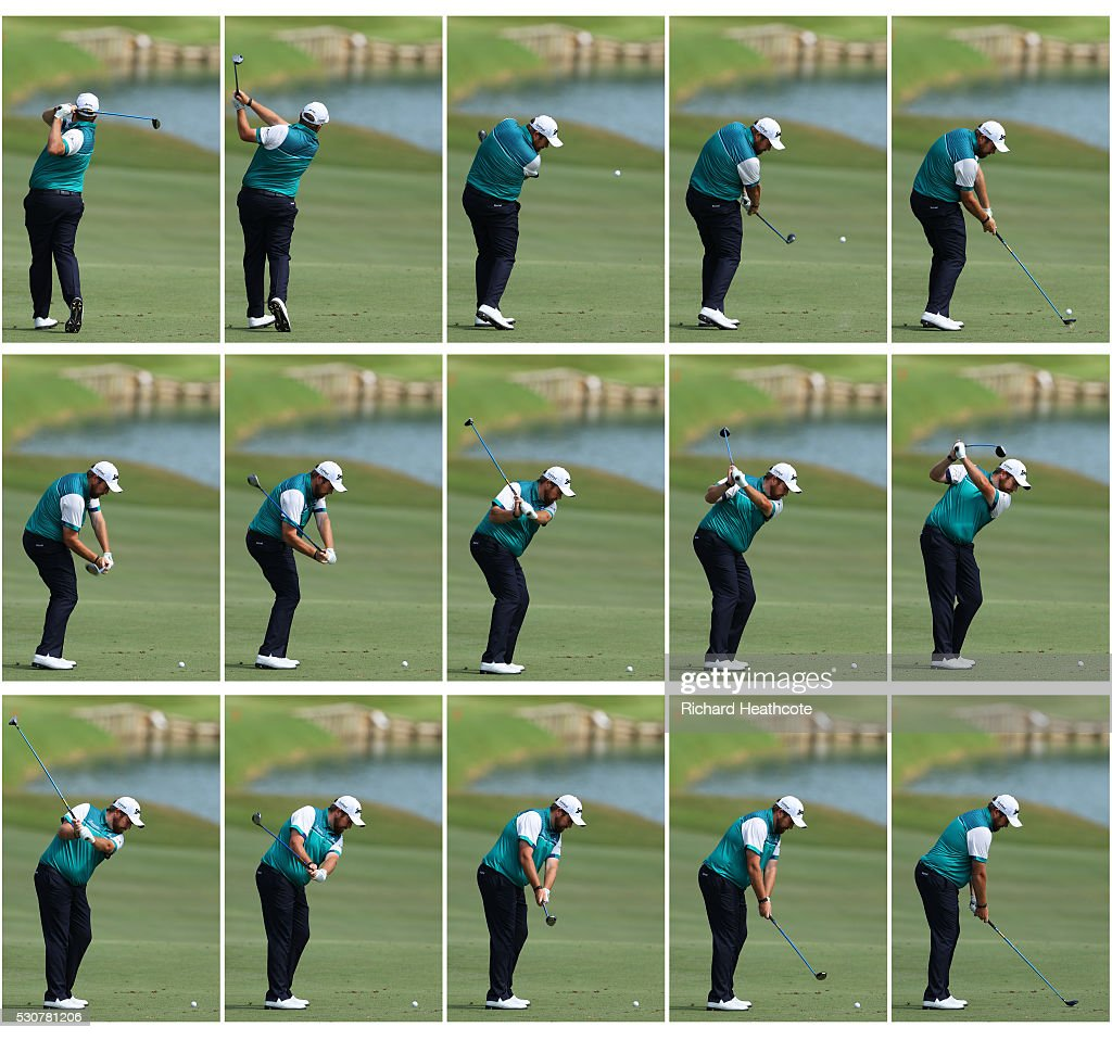 Shane Lowry of Ireland swing sequence during a practise round for THE PLAYERS Championship on The Stadium Course at TPC Sawgrass on May 11, 2016 in Ponte Vedra Beach, Florida.