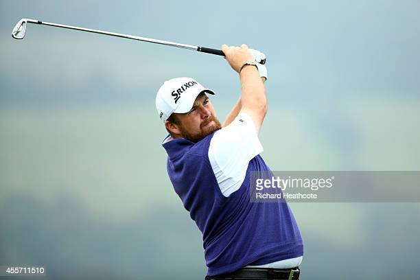 Shane Lowry of Ireland tee's off at the 7th during the second round of the ISPS Handa Wales Open at Celtic Manor Resort on September 19 2014 in...