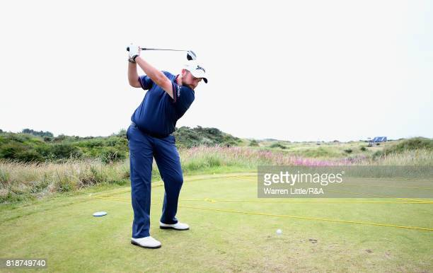 Shane Lowry of Ireland tees off during a practice round prior to the 146th Open Championship at Royal Birkdale on July 19 2017 in Southport England