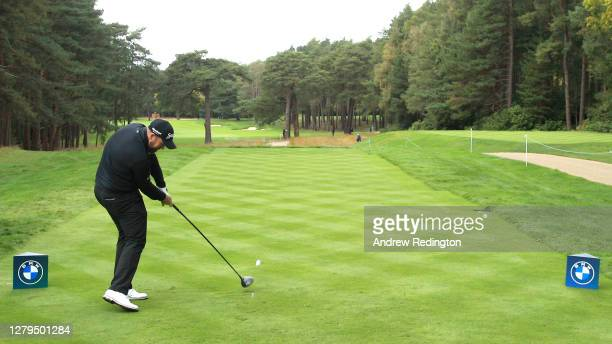 Shane Lowry of Ireland tees off on the 12th hole during Day Three of the BMW PGA Championship at Wentworth Golf Club on October 10, 2020 in Virginia...