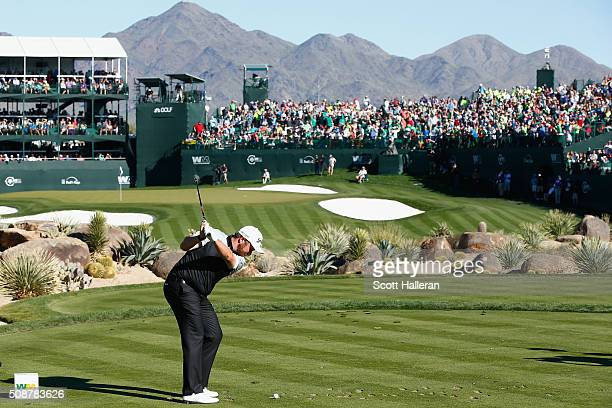 Shane Lowry of Ireland tees off on the 16th hole during the third round of the Waste Management Phoenix Open at TPC Scottsdale on February 6 2016 in...