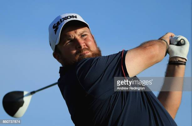 Shane Lowry of Ireland tees off on the 18th during day one of the 2017 Portugal Masters at Dom Pedro Victoria Golf Club on September 21 2017 in...