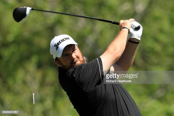 Shane Lowry of Ireland tees off on the 3rd hole of his match during round two of the World Golf ChampionshipsDell Technologies Match Play at the...